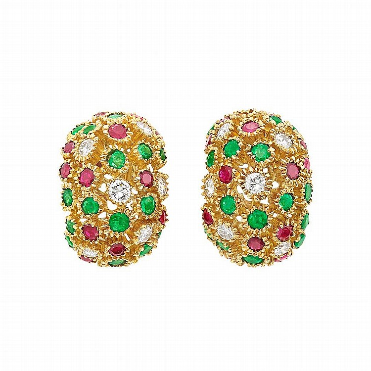 Pair of Gold, Diamond, Ruby and Emerald Bombe Earrings, Van Cleef & Arpels, France