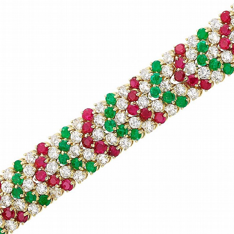 Gold, Diamond, Ruby and Emerald Bracelet, Van Cleef & Arpels