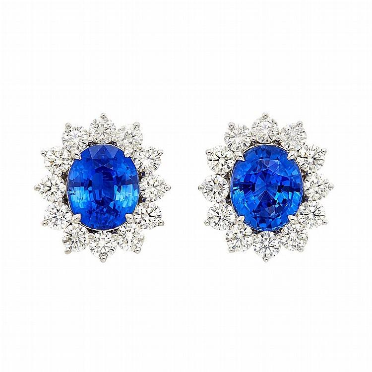 Pair of Platinum, Sapphire and Diamond Earclips