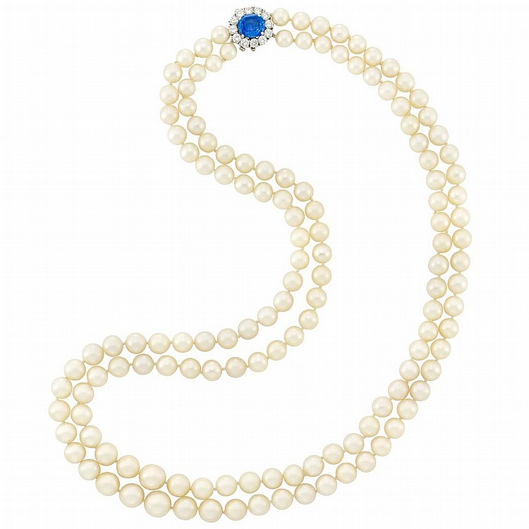 Long Double Strand Cultured Pearl Necklace with Platinum, Sapphire and Diamond Clasp, Van Cleef & Arpels