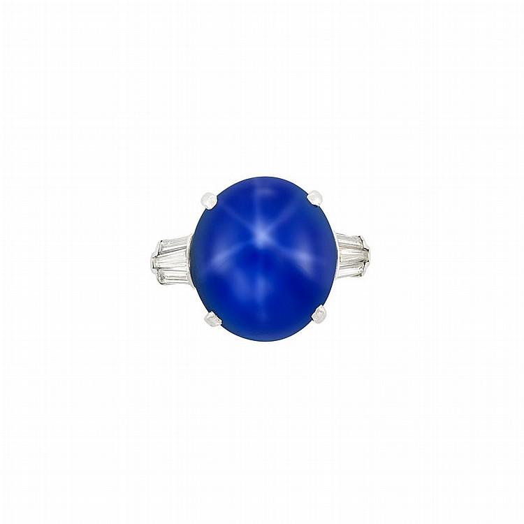 Platinum and Star Sapphire Ring