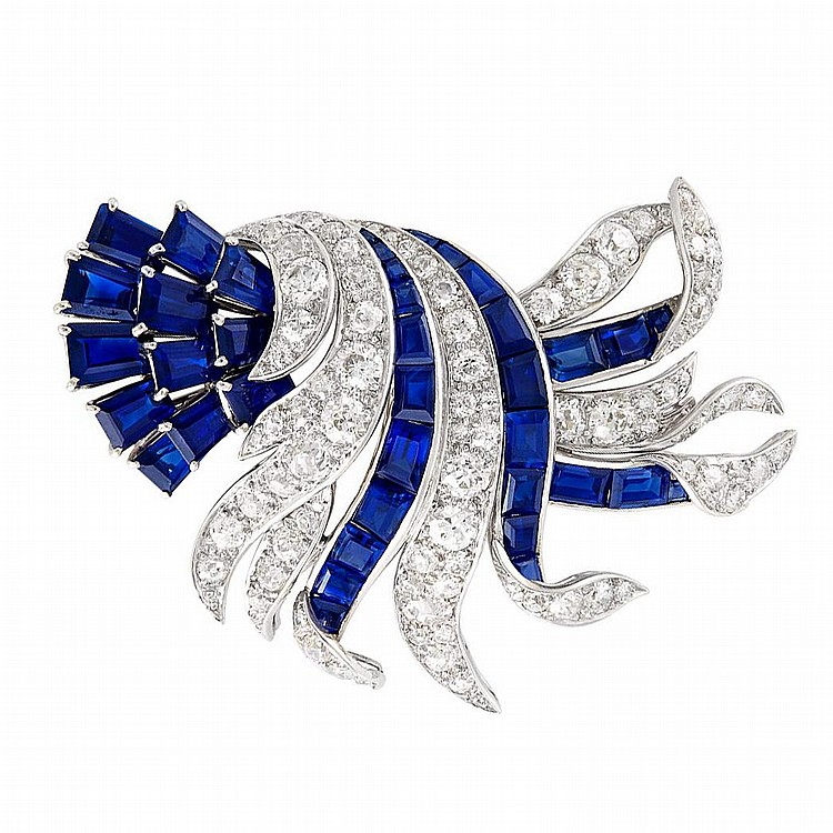 Platinum, Diamond and Sapphire Brooch, Verdura