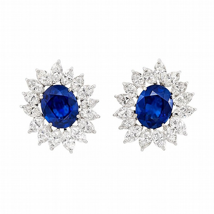 Pair of Platinum, Sapphire and Diamond Earclips
