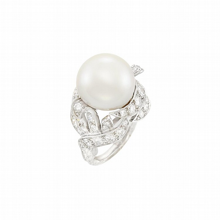 Platinum, Cultured Pearl and Diamond Ring, Sterle, Paris
