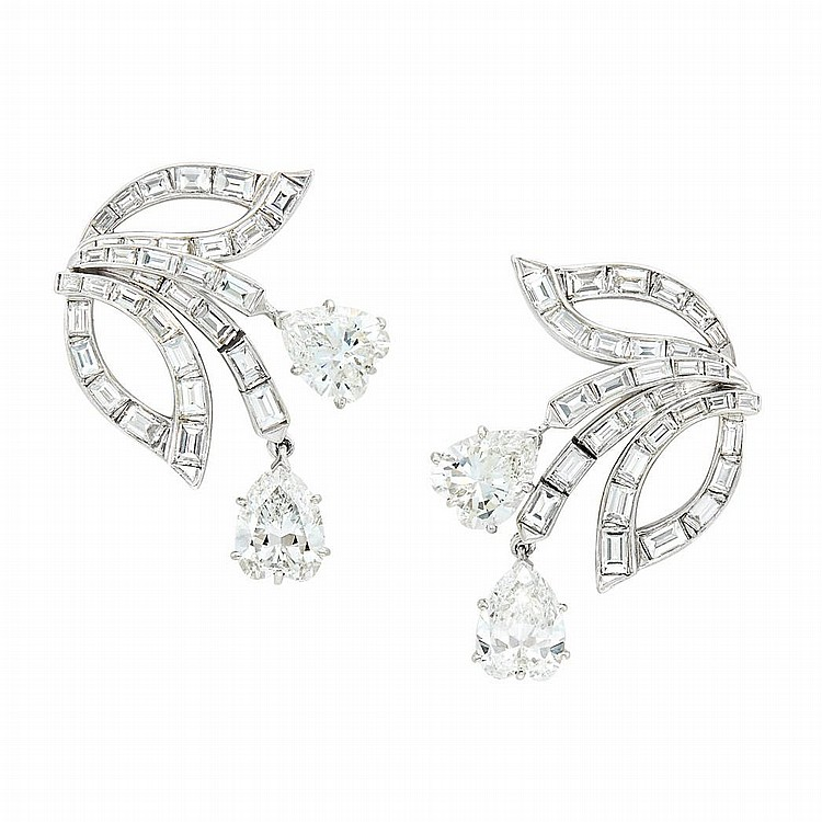 Pair of Platinum and Diamond Earclips, Van Cleef & Arpels
