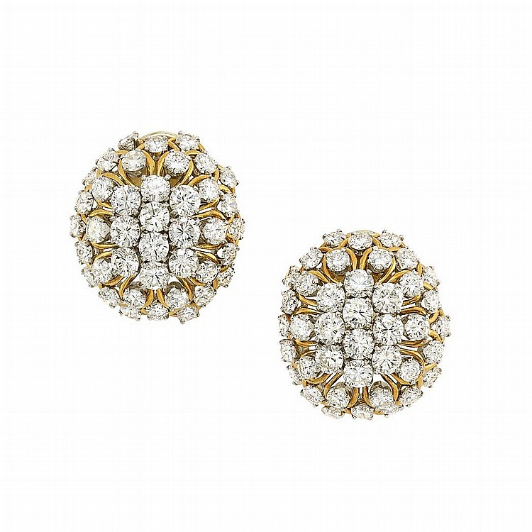 Pair of Gold and Diamond Bombe Earclips, David Webb