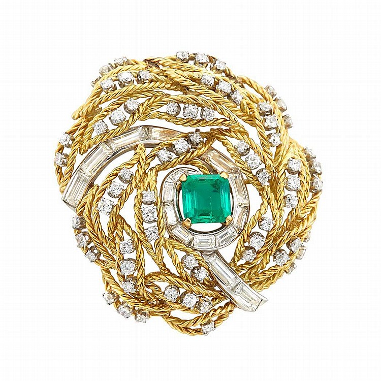 Gold, Platinum, Emerald and Diamond Clip-Brooch, Monture Boucheron, France