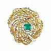 Gold, Platinum, Emerald and Diamond Clip-Brooch, Monture Boucheron, France