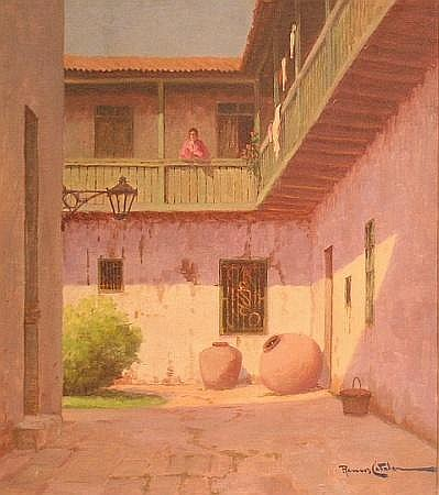 Ramos Catalan Chilean, b.1890 WOMAN ON A SUNLIT BALCONY