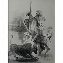 Byron Browne American, 1907-1961 Bull Fighting, 1956