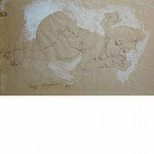 Philip Evergood  American, 1901-1973 Reclining Nude, 1951