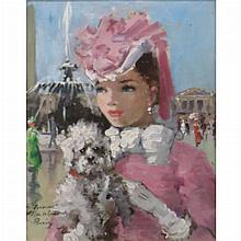 Francois Gerome French, 20th Century (i) Woman with Dog in the Place de la Concorde (ii) Flower Seller Outside the Cafe a la Paix