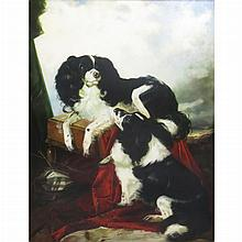 20th Century School Two Cavalier King Charles Spaniels in a Landscape