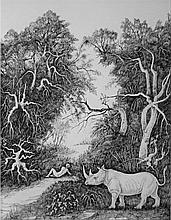 Stanislao Lepri Italian, 1905-1980 The Rhinoceros and the Young Man, 1977