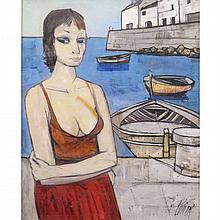 Charles Levier French, 1920-2003 Fille Corse dans un Port