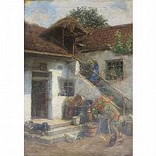 Karl Martin Schade Austrian, 1862-1954 Farmhouse Yard and Landscape Study: a double-sided work
