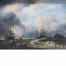 Dutch School 19th Century Storm over a River Estuary