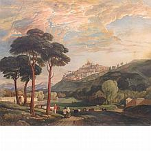 Manner of Jan Siberechts Landscape with Figures and Cows with a Town in the Distance