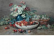 Francois Rivoire French, 1842-1919 Still Life of Flowers and Fruit, 1882