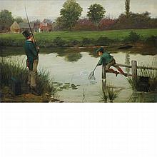 Walter Dendy Sadler British, 1854-1923 Father and Son Fishing, 1891