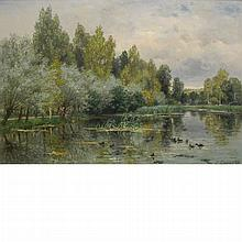 Eugene Lambert French, 19th Century River Landscape with Man Fishing, 1877