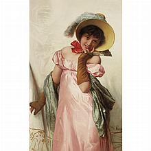 Giovanni Costa Italian, 1826-1903 Lady in a Pink Dress and Fan