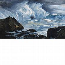 Andrew George Winter American, 1893-1958 Storm, Lobster Cove and Crashing Waves with Tree: A double-sided work