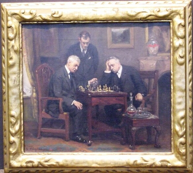 Richard Creifelds American, 1853-1939 CHECKMATE Signed R. Creifelds (ll) Oil on canvas 14 x 16 inches Provenance: Post Road Gallery, Larchmont, New York Exhibited: Brooklyn Academy, 1892 (possibly)