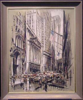 John Haymson American, 1903-1980 NEW YORK STOCK EXCHANGE Signed John Haymson (lr) Oil on canvas 30 x 24 1/4 inches