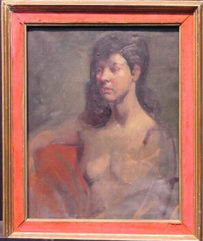Attributed to Malcolm Liepke YOUNG WOMAN, SEATED Oil on canvas 20 x 16 inches