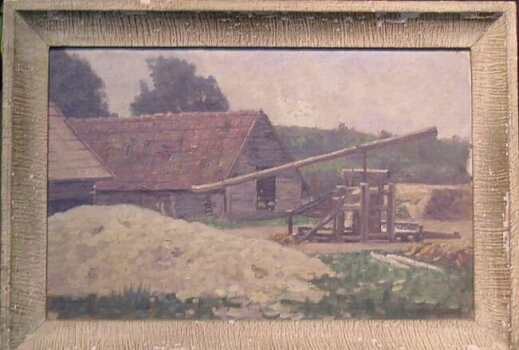 Paul Riess 1857-1933 FARM Signed Paul Riess (lr) Oil on canvas laid to board 9 3/4 x 15 inches Provenance: George Hourwich, gift from Arthur and Helen Macpherson