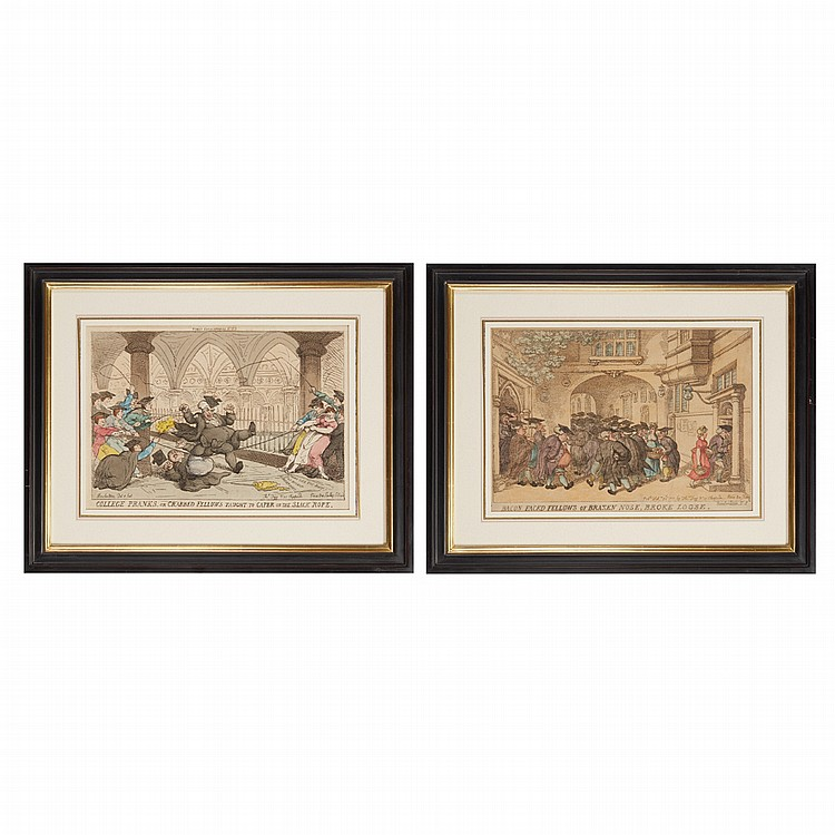 Thomas Rowlandson BACON FACED FELLOWS OF BRAZEN NOSE...; COLLEGE PRANKSRTwo hand-colored etchings