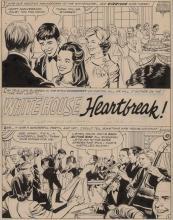 ORLANDO, JOE Original illustration titled White House Heartbreak. [N.p. circa 1970]. Two ink illustrations on one boar...