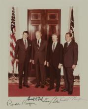 [PRESIDENTS] Photograph signed by Ronald Reagan, Gerald Ford, Jimmy Carter, and Richard Nixon. [Washington: 8 October 1981]....