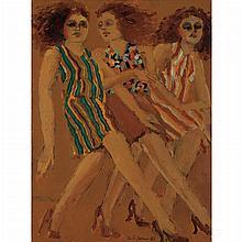 Lester Johnson American, 1919-2010 Three City Girls, 1987