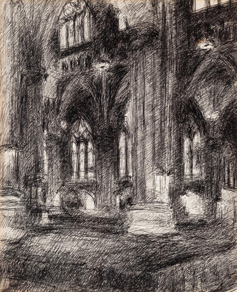 Malcolm McKesson American, 1909-1999 Interior of St. Patrick's Cathedral