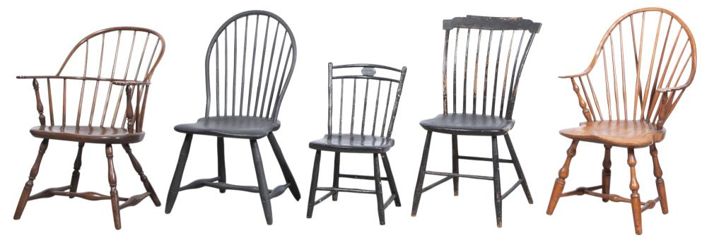 Group of Five Windsor Chairs