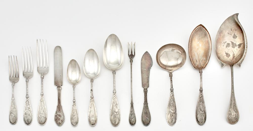 Whiting Sterling Silver Japanese Pattern Flatware Service