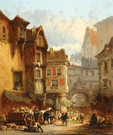 Leonard Saurfelt French, b.1840 VILLAGE MARKET SCENES, 1873: TWO