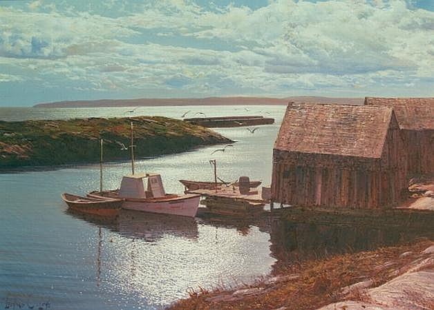 Leonard C. Lane American, d. 1978 Harbor Scene