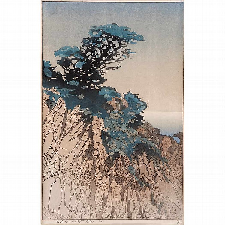 Bertha Lum POINT LOBOS Color woodcut
