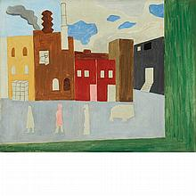 Myron Lechay American, 1898-1932 City Street Scene with Figures, 1924   Signed Myron Lechay and dated 24...