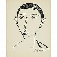 Rudolf Bauer German/American, 1889-1953 Expressionist Head   Signed Rudolf Bauer (lr) Crayon on board 16...