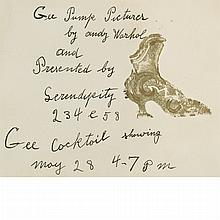 Andy Warhol American, 1928-1987 Untitled, Gee Pump Pictures   Signed Andy Warhol (uc) and inscribed in the a...