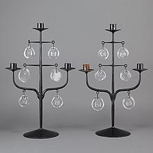 Erik Hoglund Swedish, 1932-1998 Pair of Three-Light Candelabra, for Boda Sweden