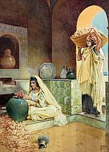 Vittorio Rappini Italian, 1877-1939 In the Courtyard of a Harem and The Perfume Maker: Two