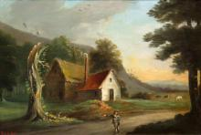 Attributed to William Robert Earl A Traveler Passing a Country Cottage
