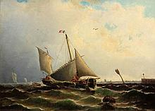 Robert Swain Gifford American, 1840-1905 Ship at Sea in Battle, 1858