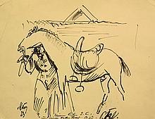 Paul Kleinschmidt German, 1883-1949 (i) Landscape in Arles: Four, 1938 (ii) Equestrienne with Horse