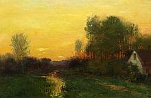 Alexander Theobald Van Laer American, 1857-1920 House at Sunset